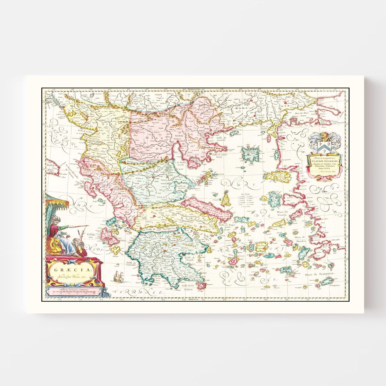 Vintage Map of Greece 1665