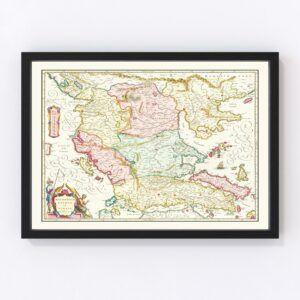 Vintage Map of Macedonia & Greece 1665