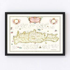 Vintage Map of Crete, Greece 1665