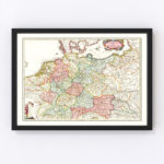 Vintage Map of Germany 1665