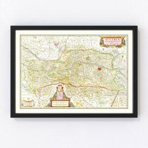 Vintage Map of Austria 1665