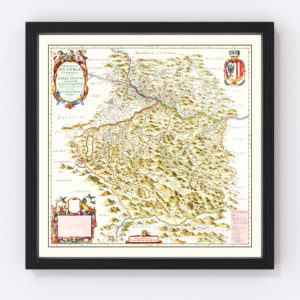Vintage Map of Austria from Above 1665