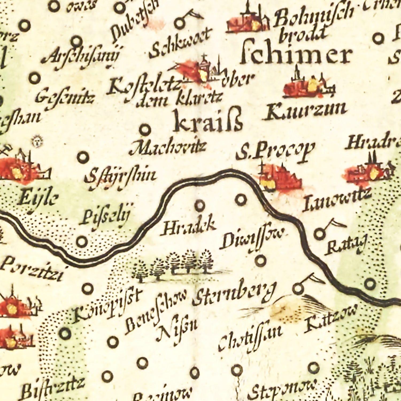 Vintage Map of Bohemia (Czech Republic) 1665